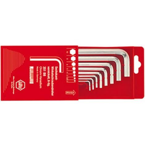 Jeu de clés coudées à 6 pans, dans un boîtier coulissant en plastique, Quantité : 8 pièces, Contenu 2 2,5 3 4 5 6 8 10 mm