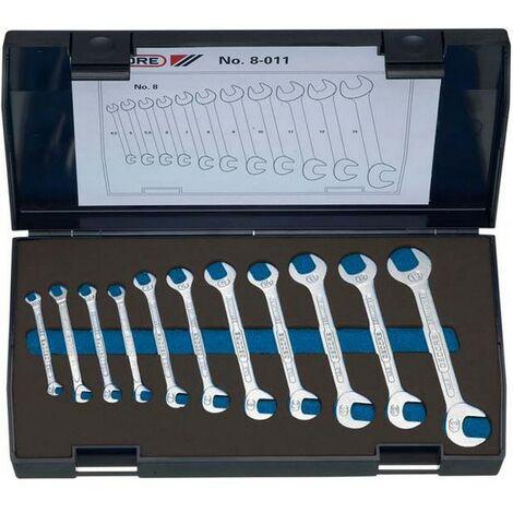 Jeu de clés plates doubles, petit modèle, 11 pièces, Contenu : 4,5 5 5,5 6 7 8 9 10 11 12 13 mm