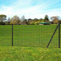 Jeu de clôture Euro avec piquets de sol 25 x 1,7 m Acier Gris