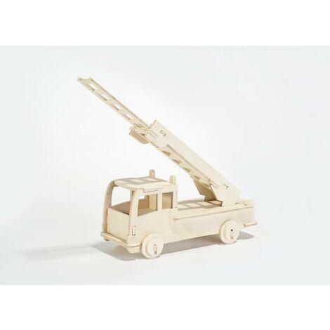 Jeu de construction en bois - modèle camion de pompier 17,5 x 7,5 x 31 cmPebaro