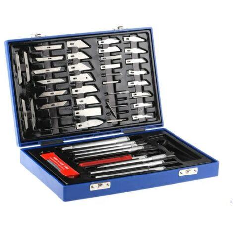 Jeu de couteaux de précision Linear Tools - Multiprofils - 7 poignées - 50 pièces - Avec mallette de rangement