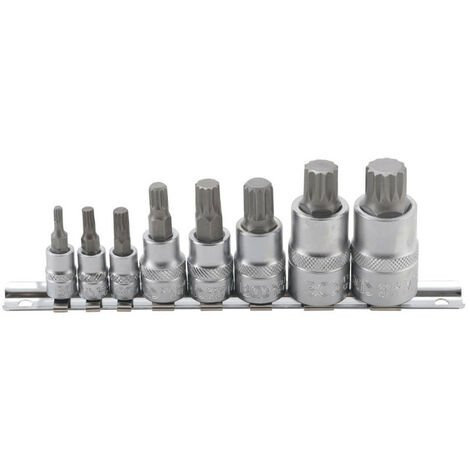 Jeu de douilles à embouts BGS TECHNIC pour XZN - denture multiple M4/M16 - 8 pcs - 5105
