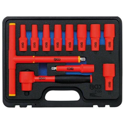 """Jeu de douilles VDE BGS TECHNIC - empreinte 10mm (3/8"""") - clés six pans 7/22 mm - 12 pcs - 7133"""
