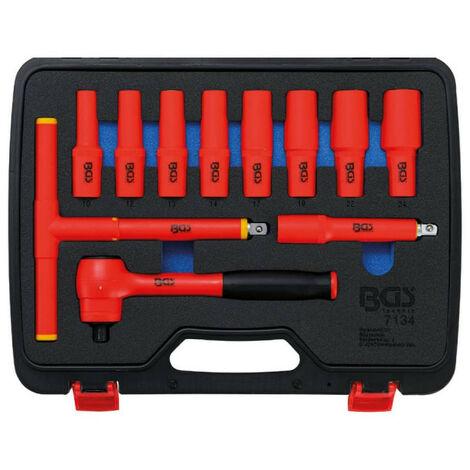 """Jeu de douilles VDE BGS TECHNIC - empreinte 12,5mm (1/2"""") - clés six pans 10/24 mm - 11 pcs - 7134"""