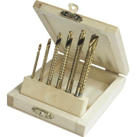 Jeu de forets à fraiser pour métal 54606 HSS 6 pièces 3 mm, 4 mm, 5 mm, 6 mm, 6.5 mm, 8 mm TiN tige cylindrique 1 set