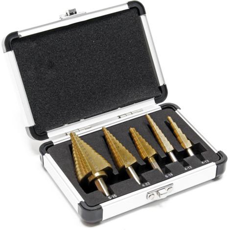 WilTec Foret /étag/é HSS avec rev/êtement en Titane pour Foret Conique 4-32mm,