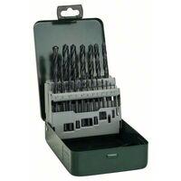 Jeu de forets pour le métal 19 pièces Bosch Accessories 2607019435 HSS laminé au rouleau DIN 338 tige cylindrique 1 set