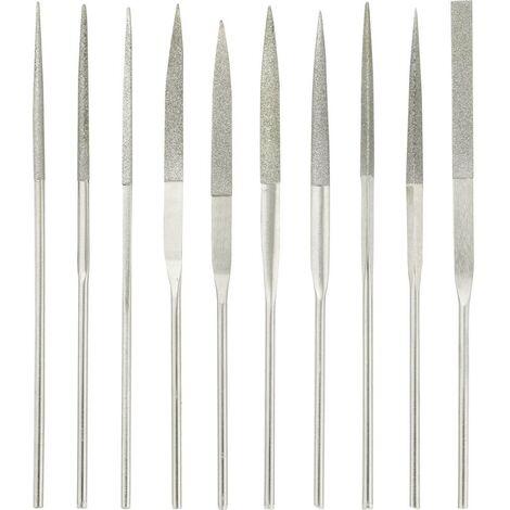 Jeu de limes diamantées, 10 pièces TOOLCRAFT 1553623 Longueur de coupe 30 mm