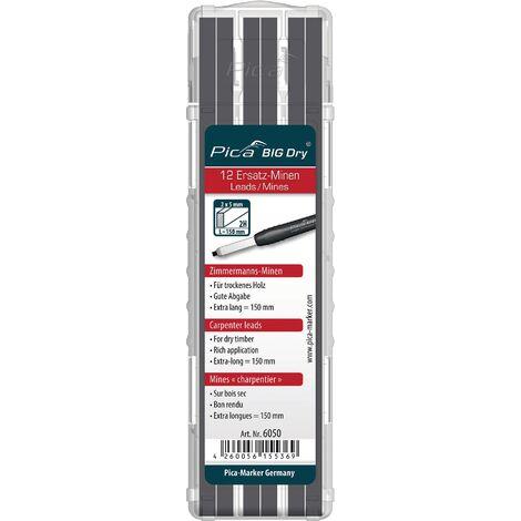 Jeu de mines BIG Dry p.crayon charpentier 12 pces BIG Dry 6055 set avec 12 mines