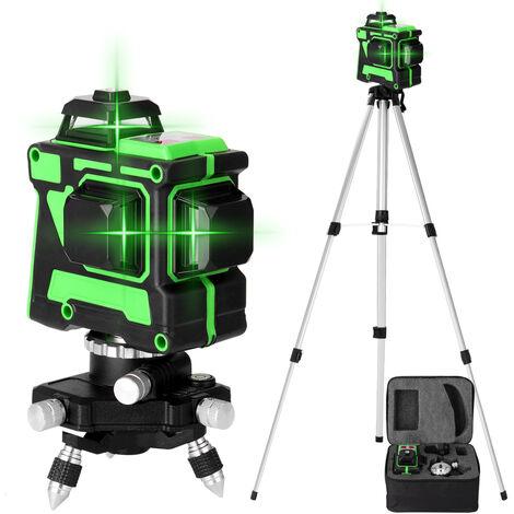 Jeu de niveau laser 3D 12 lignes, niveau + base rotative + support triangulaire + alimentation + mallette de transport + manuel d'instructions, norme europeenne 220 V