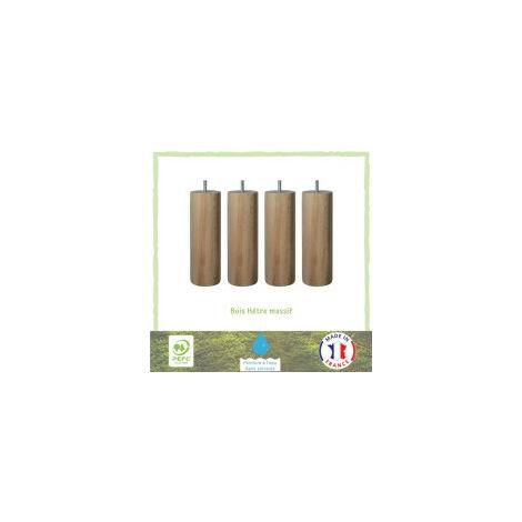Jeu de pieds cylindriques en bois O 6,2 cm - H 19 cm - Lot de 4