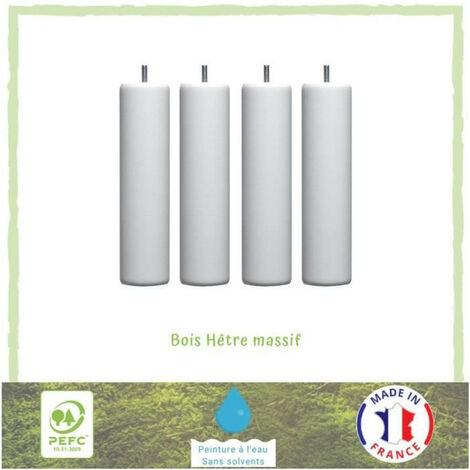 Jeu de pieds cylindriques O 6,2 cm H 19 cm Blanc - Lot de 4