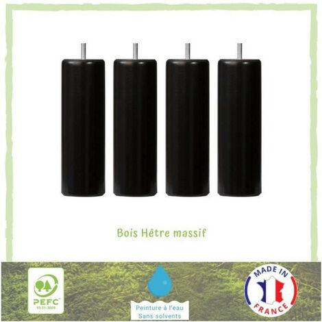Jeu de pieds cylindriques O 6,2 cm H 19 cm Noir - Lot de 4