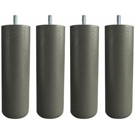 Jeu de pieds cylindriques O 6,2 cm H 19 cm Taupe - Lot de 4
