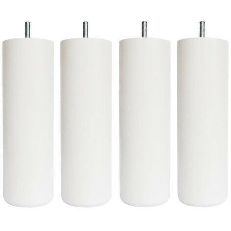 Jeu de pieds cylindriques O 6,2 cm H 24,5 cm Blanc - Lot de 4