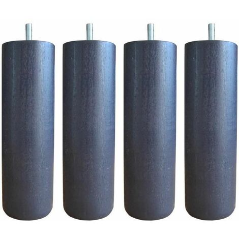 Jeu de pieds cylindriques O 6,2 cm H 24,5 cm Gris anthracite - Lot de 4