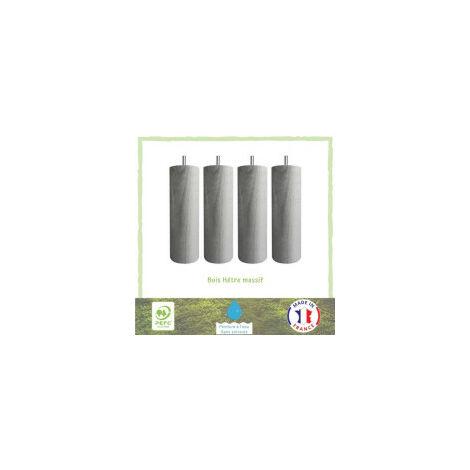 Jeu de pieds cylindriques O 6,2 cm H 24,5 cm Gris metal - Lot de 4
