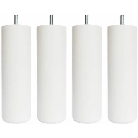 Jeu de pieds cylindriques O 7 cm H 17 cm Blanc - Lot de 4
