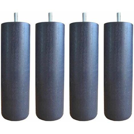 Jeu de pieds cylindriques O 7 cm H 17 cm Gris anthracite - Lot de 4