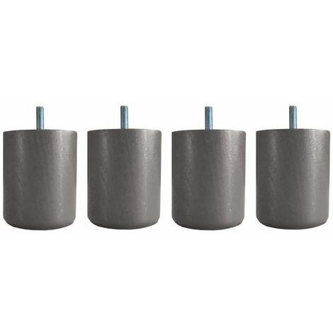 Jeu de pieds cylindriques O 7 cm H 8,5 cm Taupe - Lot de 4