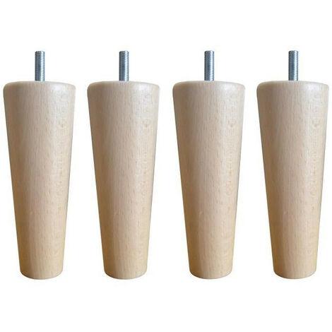 Jeu de pieds fuseau ronds droit en bois O 5,4 cm - H 14,5 cm - Lot de 4