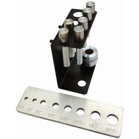 Jeu de poinçons et adaptateurs pour presses hydrauliques