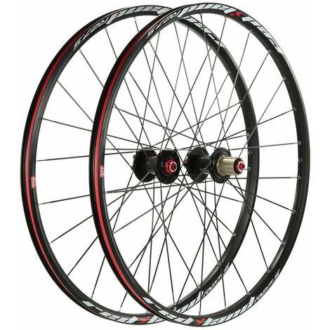Jeu de roues VTT ultraleger 27,5 '' Ensemble de roues de velo de montagne 24 trous avant 2 arriere 5 roulements compatibles avec une cassette 8-10 vitesses, modele: noir