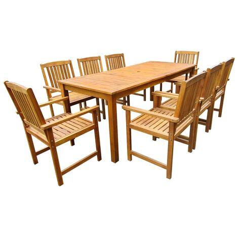 Jeu de salle à manger d'extérieur 9 pcs Bois d'acacia solide