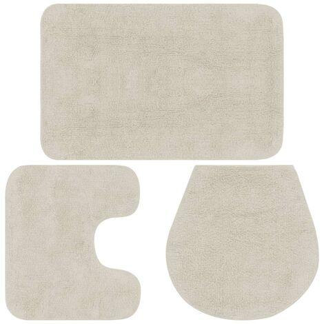 Jeu de tapis de salle de bain 3 pcs Tissu Blanc