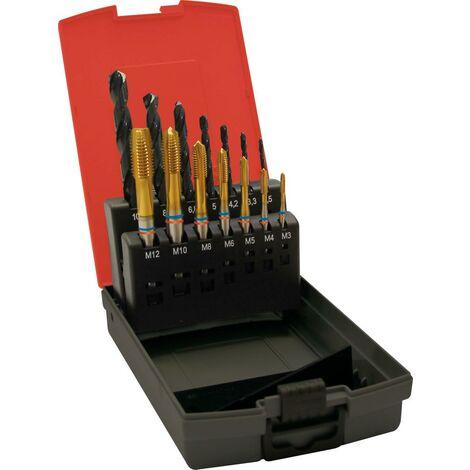 Jeu de tarauds machine Fat Tandem DIN371 HSSE-PM TiN type N 6G forme B M3-M12+forets avant-trous 1 PCS