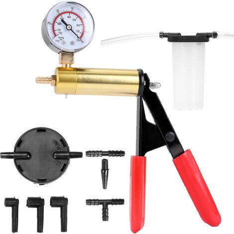Jeu d'outils de remplacement de liquide de frein de 19 pieces Pompe a vide + reservoir d'huile + 2 bouchons + 4 tuyaux + 8 adaptateurs + 2 anneaux en caoutchouc + instructions