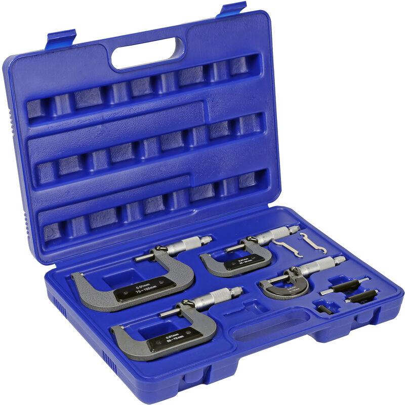 Jeu 4 Micromètre 0-100mm Vis micrométrique Micromètre extérieur Plage mesure 0,01?mm Haute précision