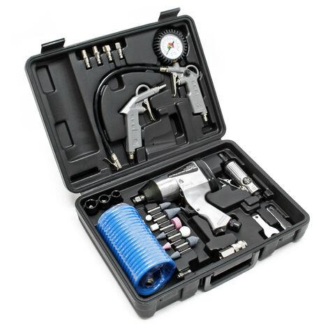 Jeu d'outils pneumatiques 27 pièces Pistolet à air comprimé inclus et nombreux accessoires Garage