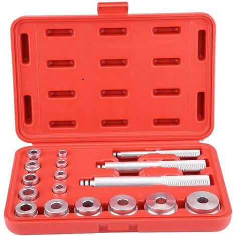 Jeu d'Outils pour Roulement de Roue, 17Pcs Extracteur de Roulement de Roue Outil de Roulement en Aluminium, Argenté, 25x17x5cm