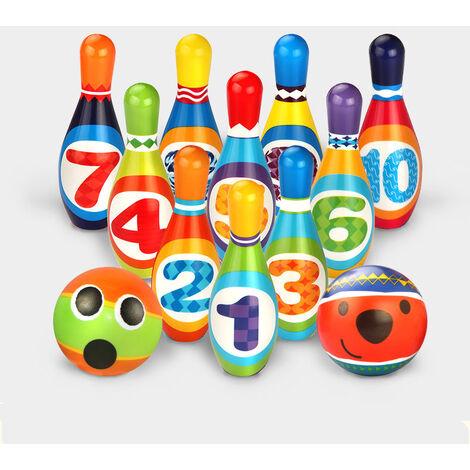 Jeux de Quilles Mini Bowling Set - 10 Quilles + 2 Balles en Mousse Bowling Multicolores Jeu en Plein Air Jeux Exterieur pour Enfants Garcon Fille 3 4 5 Ans (10 quilles)