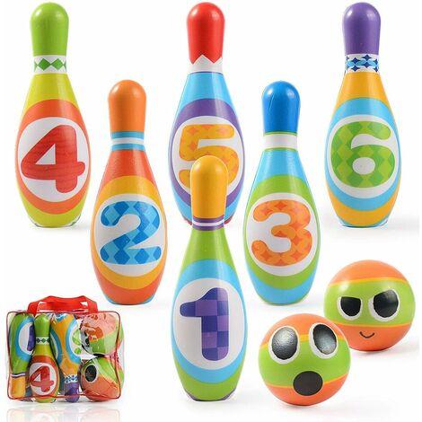 """main image of """"Jeux de Quilles Mini Bowling Set - 6 Quilles + 2 Balles en Mousse Bowling Multicolores Jeu en Plein Air Jeux Exterieur pour Enfants Garcon Fille 3 4 5 Ans"""""""