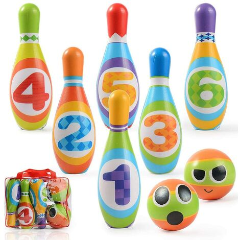 Jeux de Quilles Mini Bowling Set - 6 Quilles + 2 Balles en Mousse Bowling Multicolores Jeu en Plein Air Jeux Exterieur pour Enfants Garcon Fille 3 4 5 Ans