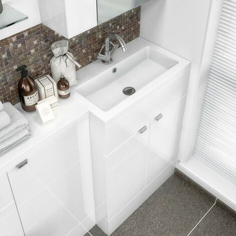 Jewel 600mm Polymarble Rear Tap Basin - 1 Tap Hole