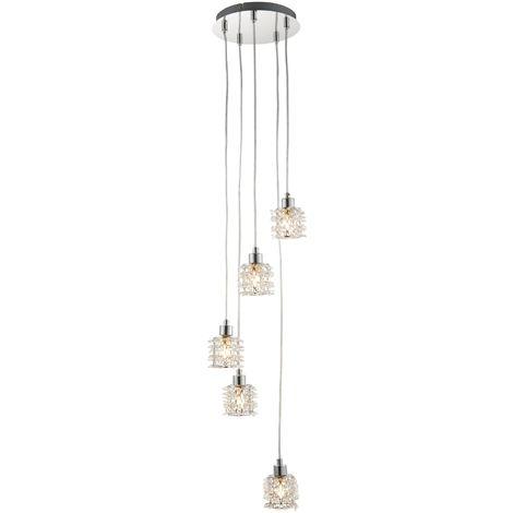 Jewelled Acrylic 5 Light Ceiling Pendant