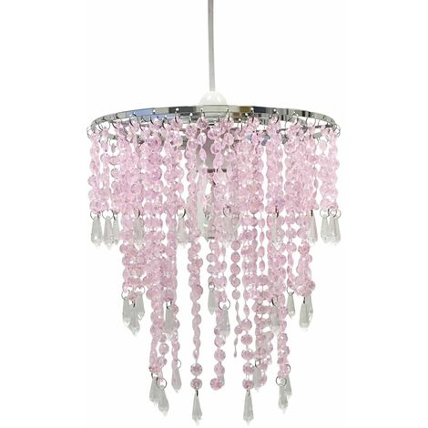 Jewelled Easy Fit Light Shade Clear or Pink Ceiling Pendant Lampshade