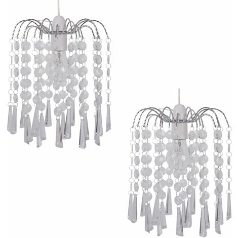 Jewelled Waterfall Droplets Easy Fit Ceiling Light Shade Pendants - 3 Colours