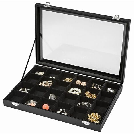 Jewellery box with 24 storage compartments - girls jewellery box, wooden jewellery box, jewellery storage - black