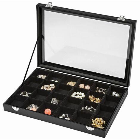 Jewellery box with 24 storage compartments - girls jewellery box, wooden jewellery box, jewellery storage - schwarz
