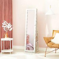 Jewellery Cabinet 360° Swivel with Storage Shelf 160 cm-high dressing mirror Lockable JBC62W