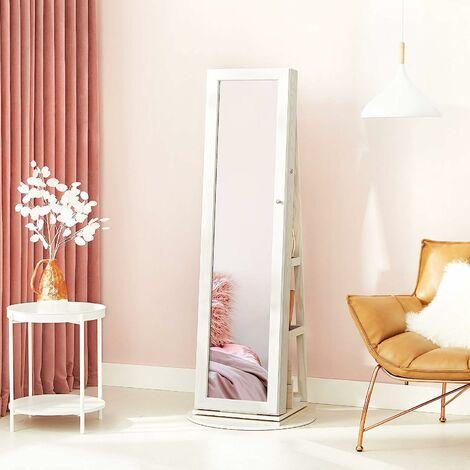 Jewellery Cabinet 360° Swivel with Storage Shelf 160 cm-high dressing mirror Lockable JBC62W - White