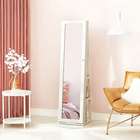 """main image of """"Jewellery Cabinet, 360° Swivel with Storage Shelf, Jewellery Armoire with Full-Length Dressing Mirror, Lockable, 160 cm High, White Cabinet, Greyish Wood Grain JBC62W - White"""""""