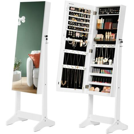 Jewellery Cabinet Armoire, Freestanding Lockable Storage Organiser Unit with 2 Plastic Cosmetic Storage, Full-Length Frameless Mirror, for Necklace Earring, White JJC002W01 - Bianco