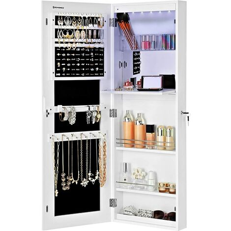 Jewellery Cabinet Frameless Extra Wide Mirrored Storage Stand with Hooks Built-in Mirror dresser Makeup Lockable