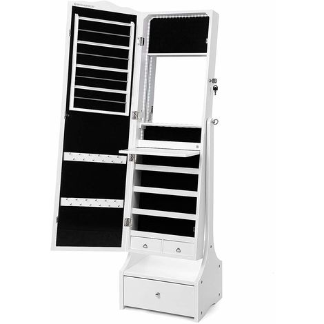 Jewellery Cabinet with LED Lights, Lockable Mirrored Cabinet, with Interior Mirror and Flip-over Makeup Shelf, White JBC87WTV1