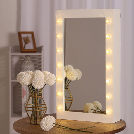 Jewellery Mirror Cabinet Wall Mounted LED Bulbs Jewelry Cosmetic Organizer Box